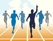 Editable vector illustration of men finishing a sprint race