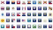 stock photo of texas state flag  - USA state flags complete set of 50 state flag buttons - JPG