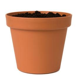 stock photo of flower pot  - Flower pot with soil - JPG