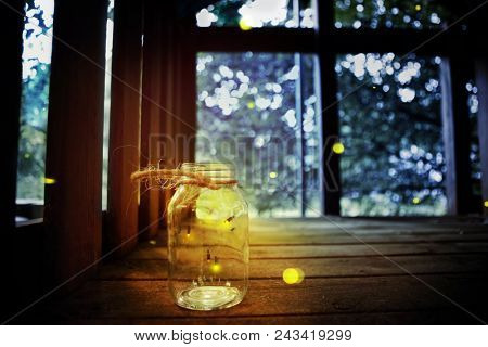 Fireflies in a jar in