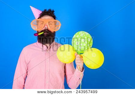 poster of Celebration Concept. Hipster In Giant Sunglasses Celebrating Birthday. Man With Beard And Mustache O