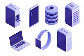 Big Collection Of It Devices And Computing Icons. Servers, Databases, Network Devices. Vector Isomet poster