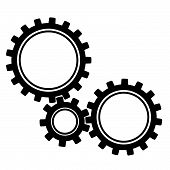 Gears. Black Gears Of Different Sizes. Vector Illustration Icon Gears. poster