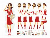 Fashionable Woman - Vector Cartoon People Character Constructor Isolated On White Background. Smilin poster