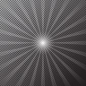 Transparent Bright Sun Shines On A Checkered Background. Magic Rays Of Sun Effect. Vector Illustrati poster