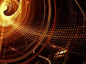 Golden Background - Wavy Grid. Abstract Computer-generated Image. Fractal Art: Unusual Tunnel In Tec poster