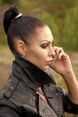 Sensual Love Game. Couple In Love. Profile Of Pensive Pretty Brunette Young Serious Woman With Brigh poster