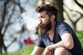Relaxation Concept. Man With Long Beard And Clouds Of Smoke Looks Relaxed. Bearded Man Smokes Vape O poster