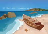 Sea, Sand Beach And Wooden Boat With Oars, Vector Colorful Graphic Drawing. Sandy Shore With Starfis poster