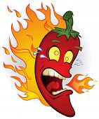 stock photo of jalapeno peppers  - A flaming red chili pepper - JPG