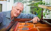 Elderly Music Instrument Technician Tuning Piano Keyboard With Tuning Spanner. Musician Checking Cho poster