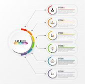 Abstract Elements Of Graph Vector Infographic Template With Label, Integrated Circles. Business Conc poster