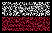 Polish State Flag Mosaic Composed Of Falling Airplane Pictograms. Flat Vector Falling Airplane Icons poster
