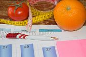 Citrus Fruits, Tomato. Concept Of Weight Loss. Healthy Lifestyle Diet With Fresh Fruits. Diet Concep poster