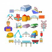 Physical Labor Icons Set. Cartoon Set Of 25 Physical Labor Vector Icons For Web Isolated On White Ba poster