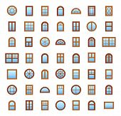 Windows. Architecture Elements. Flat Icons Isolated On White Background. Traditional, French, Arch A poster