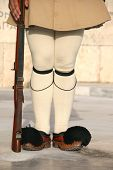 stock photo of evzon  - greek traditional guard of honor tsolias detail vertical - JPG