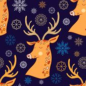 Hand Drawn Christmas Seamless Pattern With Stars And Christmas Deer. Holiday Background.unique Hand  poster