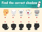 Cute Little Cat,find The Correct Shadow. Educational Game For Children, Shadow Matching Game For Kid poster