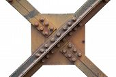 A Strong Steel Beams Structure Of A Railway Bridge With Nuts And Bolts, Screw Steel Railway Bridges  poster