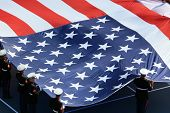 foto of the united states america  - A flag of United States of America on US Open tennis court - JPG