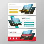 Yellow Blue Red Abstract Corporate Business Banner Template, Horizontal Advertising Business Banner  poster