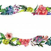 Tropical Bouquet Flower. Floral Botanical Flower. Frame Border Ornament Square. Aquarelle Wildflower poster