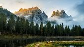 Dolomites, Italy Landscape At Lake Antorno. poster