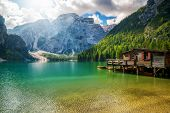 Braies Lake In Dolomites Mountains Seekofel, Italy poster