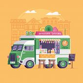 City Street Food Vegan Van In Flat Design. Pressed Juice Truck. Summer Auto Juice Bar Kiosk In Flat  poster