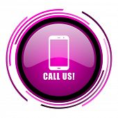 Call us pink glossy web icon isolated on white background poster
