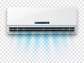 Air Conditioner Template. Vector Realistic Illustration. Conditioner With Fresh Air Streams. poster