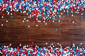 American Independence Day Background With Blue, White And Red Mixed Stars. Celebration Of American I poster