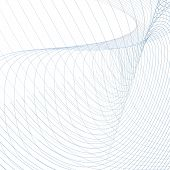 Abstract Vector Wiggly Waveforms. Technician Background, Curved Intersecting Blue, Gray Lines On Whi poster