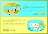Spring Sale Poster Discount -45 Colorful Butterfly, Rose Flower Springtime Advert Card Design Vector poster