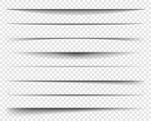 Page Dividers With Transparent Shadows, Isolated. Pages Separation Vector Set. Transparent Realistic poster