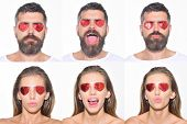 Emoji Set Of Woman And Bearded Man With Hearts On Eyes. Collage Of Emotions. Different Emotions. Fee poster