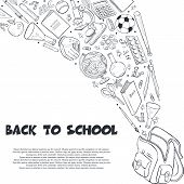 Hand Drawn School Objects Flying Out Of Backpack Composition. Vector Illustration Of School Accessor poster