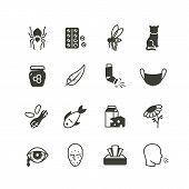 Pollen, Dust, Wheat And Cat Allergy And Rhinitis Icons Set. Allergic And Allergen Vector Medicine Sy poster