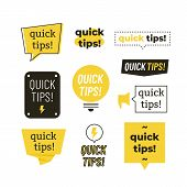 Quick Tips, Helpful Tricks Vector Logos, Emblems And Banners Vector Set Isolated. Helpful Idea, Solu poster