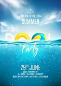 Summer Pool Party Poster Template. Vector Illustration With Deep Underwater Ocean Scene. Background  poster