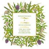 Floral Wedding Invitation With Geometric Gold Frame, Herb And Field Flowers In Watercolor Style. Gre poster