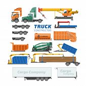 Truck Constructor Vector Delivery Vehicle Or Cargo Transportation And Trucking Construction Illustra poster