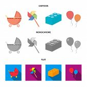 Stroller, Windmill, Lego, Balloons.toys Set Collection Icons In Cartoon, Flat, Monochrome Style Vect poster