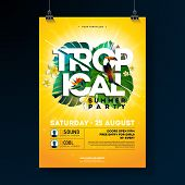 Vector Tropical Summer Party Flyer Design With Typographic Elements On Sun Yellow Background. Summer poster