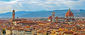 Florence Italy Panorama With Arno River Old Palace And The Big Dome Of The Cathedral Called Duomo Di poster