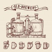 Vintage Engraving Style Beer Set. Retro Brewery Engraving. Copper Tanks And Barrels, Beer Mugs And R poster