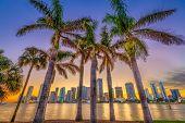Miami, Florida, USA skyline on Bisayne Bay at dusk. poster