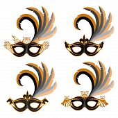 Set Of Various Carnival Masks With The Image Of Different Animals - Owl, Wolf, Horse, Raccoon. Carni poster