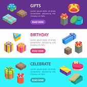 Cartoon Present Boxes Banner Horizontal Set Packaging Holiday Gift Concept Flat Design Style. Vector poster